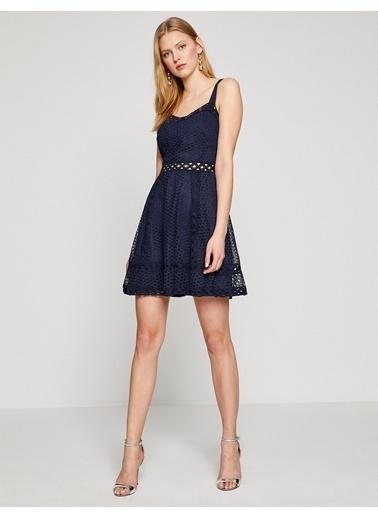 Askılı Dantelli Mini Elbise-Koton
